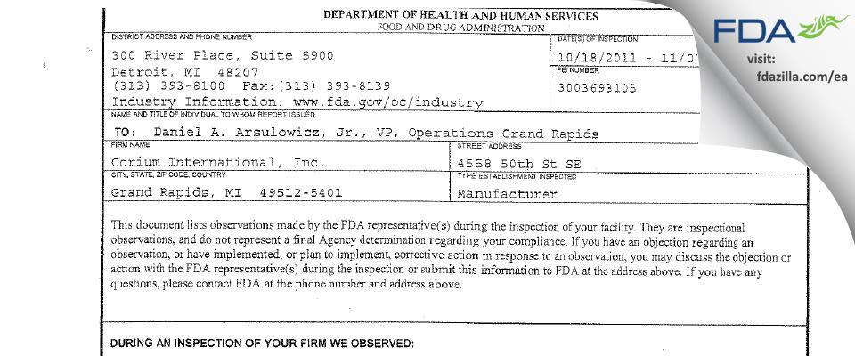 Corium International FDA inspection 483 Nov 2011
