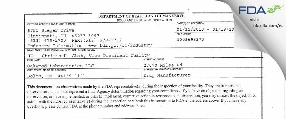 Oakwood Labs FDA inspection 483 Jan 2010