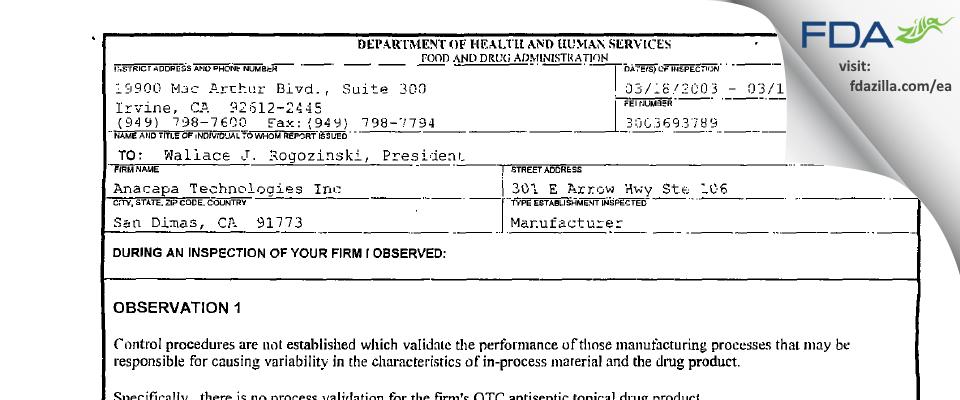 Anacapa Technologies FDA inspection 483 Mar 2003