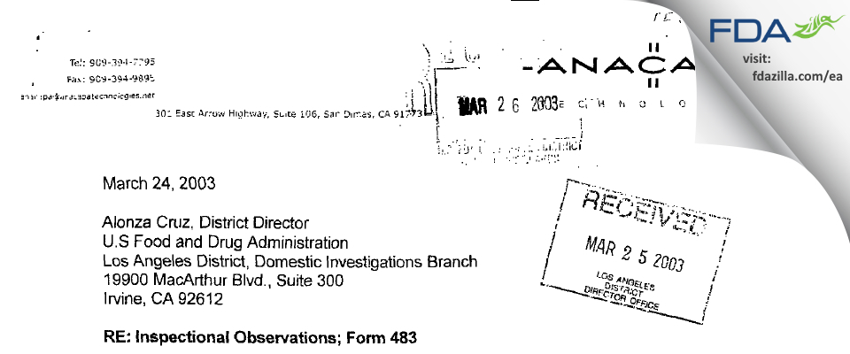 Anacapa Technologies FDA inspection 483 Mar 2003