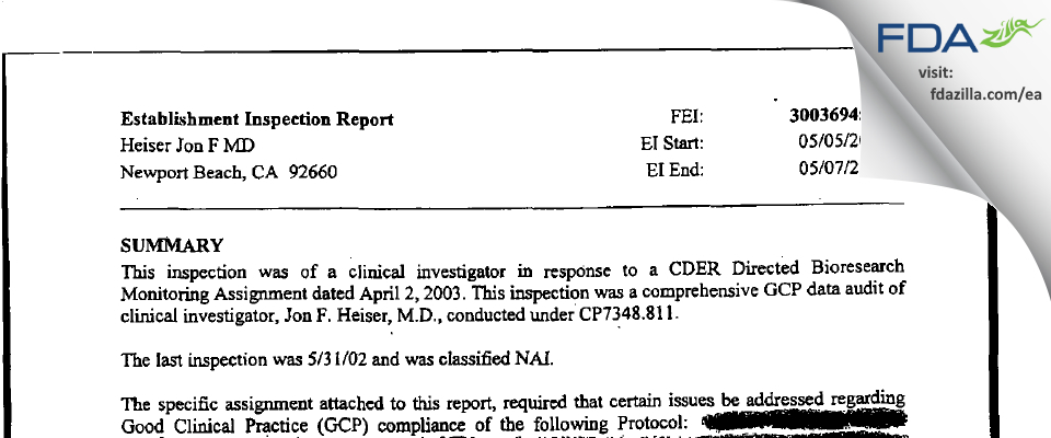 Heiser Jon F MD FDA inspection 483 May 2003