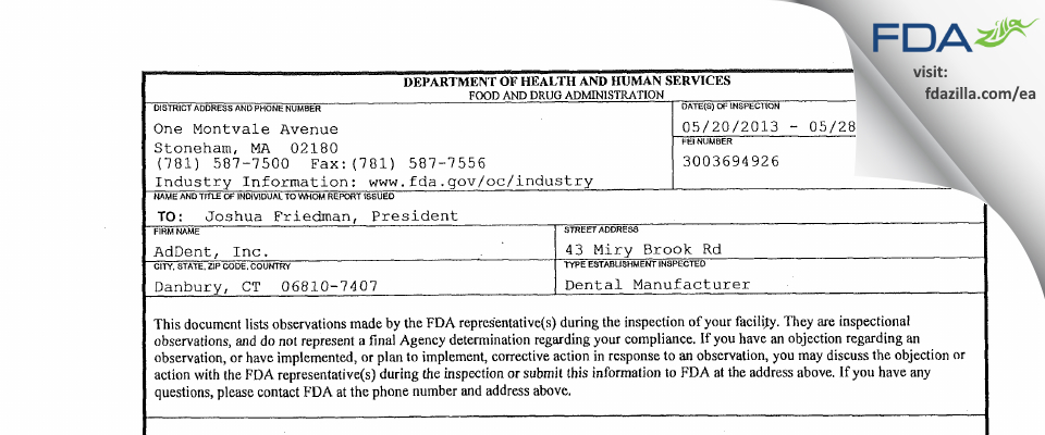AdDent FDA inspection 483 May 2013
