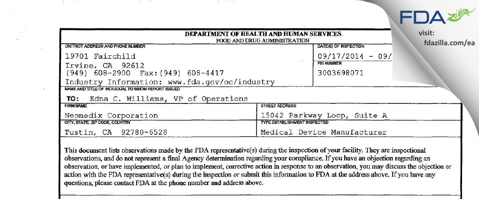 Neomedix FDA inspection 483 Sep 2014