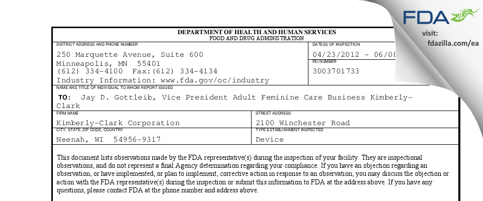 Kimberly-Clark FDA inspection 483 Jun 2012