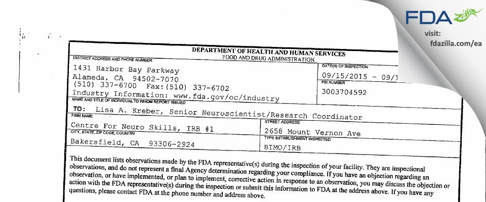 Centre For Neuro Skills, IRB #1 FDA inspection 483 Sep 2015