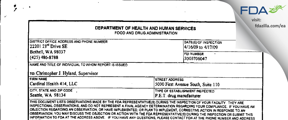 Cardinal Health 414 FDA inspection 483 Apr 2009