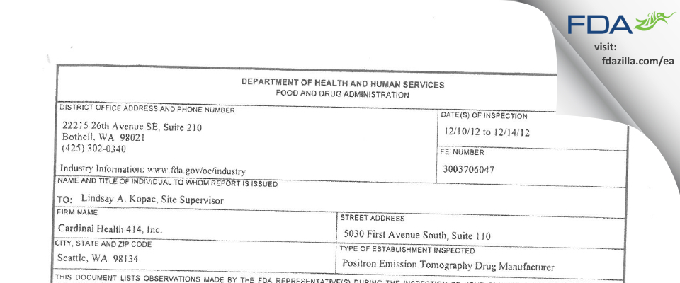 Cardinal Health 414 FDA inspection 483 Dec 2012
