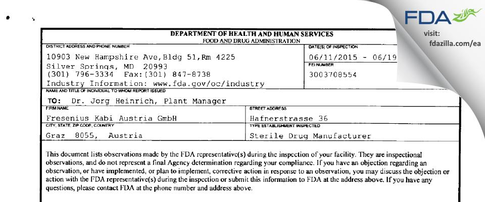 Fresenius Kabi Austria FDA inspection 483 Jun 2015