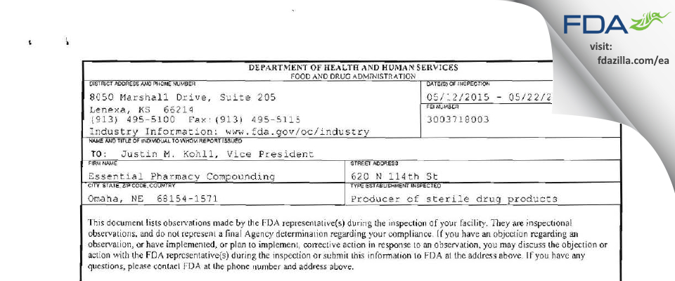 Essential Pharmacy Compounding FDA inspection 483 May 2015