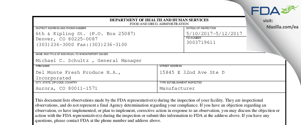 Del Monte Fresh Produce N.A. FDA inspection 483 May 2017