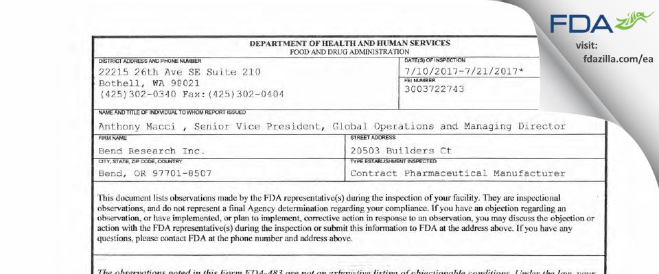 Bend Research FDA inspection 483 Jul 2017