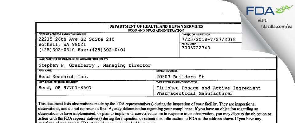 Bend Research FDA inspection 483 Jul 2018