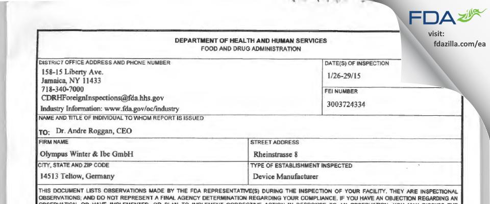 Olympus Winter & Ibe FDA inspection 483 Jan 2015