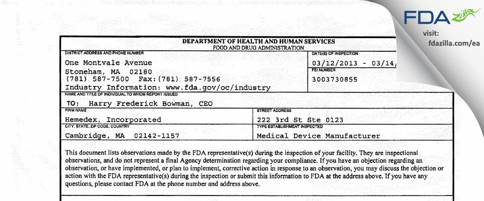 Hemedex FDA inspection 483 Mar 2013