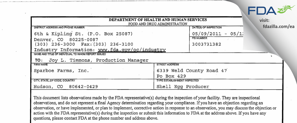 Sparboe Farms FDA inspection 483 May 2011