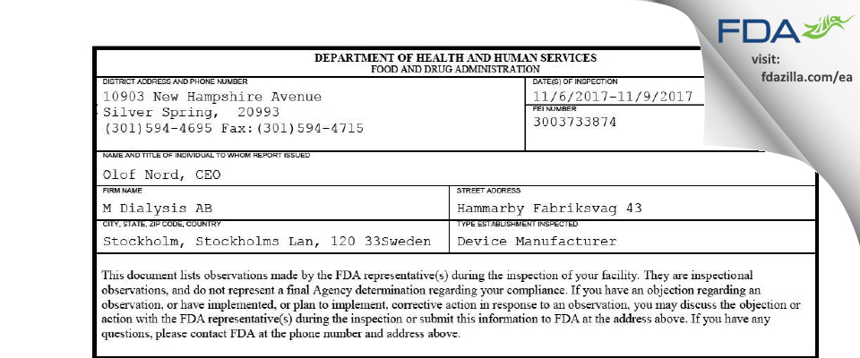 M Dialysis AB FDA inspection 483 Nov 2017