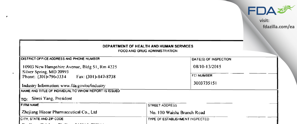 Zhejiang Hisoar Pharmaceutical FDA inspection 483 Aug 2015