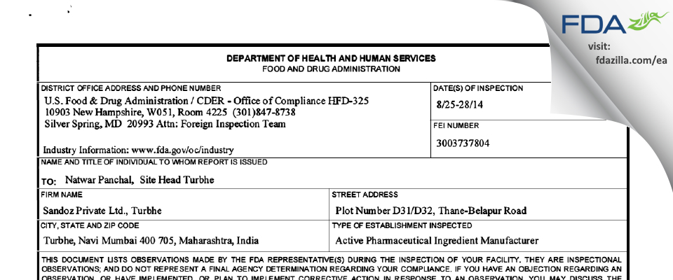 Sandoz Private FDA inspection 483 Aug 2014