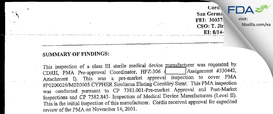 Cordis FDA inspection 483 Aug 2002