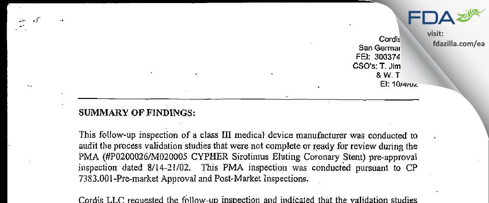 Cordis FDA inspection 483 Oct 2002