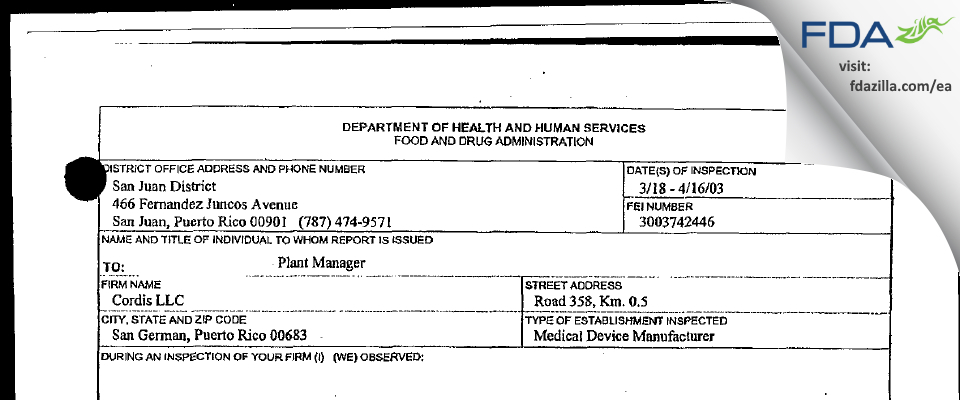 Cordis FDA inspection 483 Apr 2003