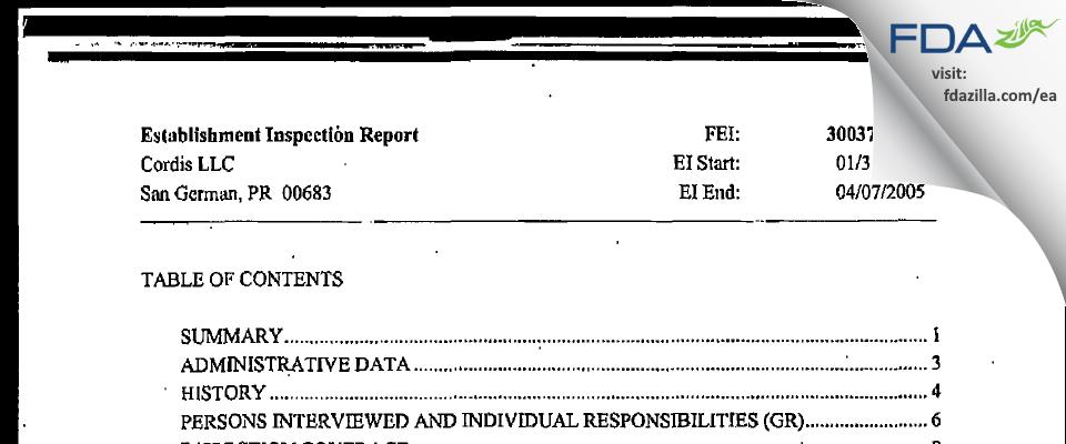 Cordis FDA inspection 483 Apr 2005