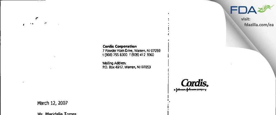Cordis FDA inspection 483 Jan 2007