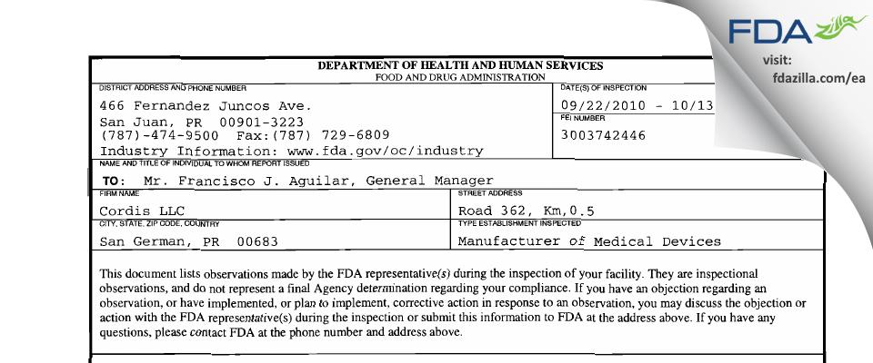 Cordis FDA inspection 483 Oct 2010