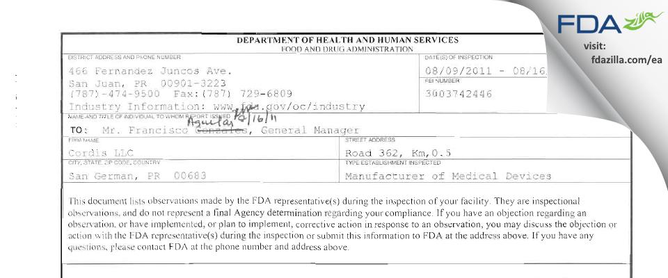 Cordis FDA inspection 483 Aug 2011