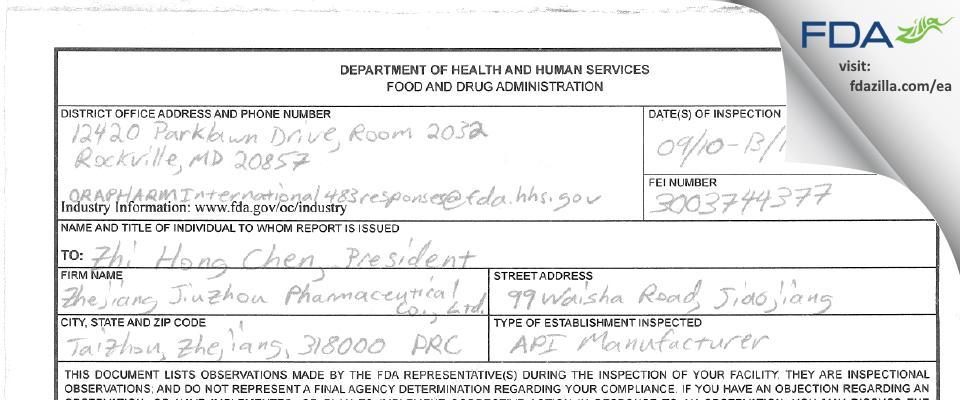 Zhejiang Jiuzhou Pharmaceutical FDA inspection 483 Sep 2018