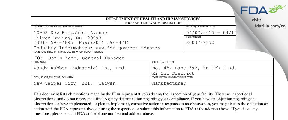 Wandy Rubber Industrial FDA inspection 483 Apr 2015
