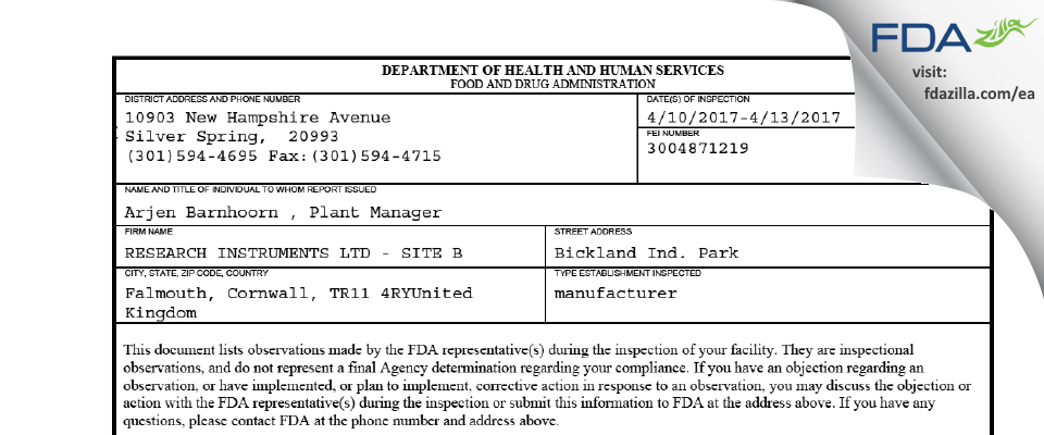 Research Instruments FDA inspection 483 Apr 2017