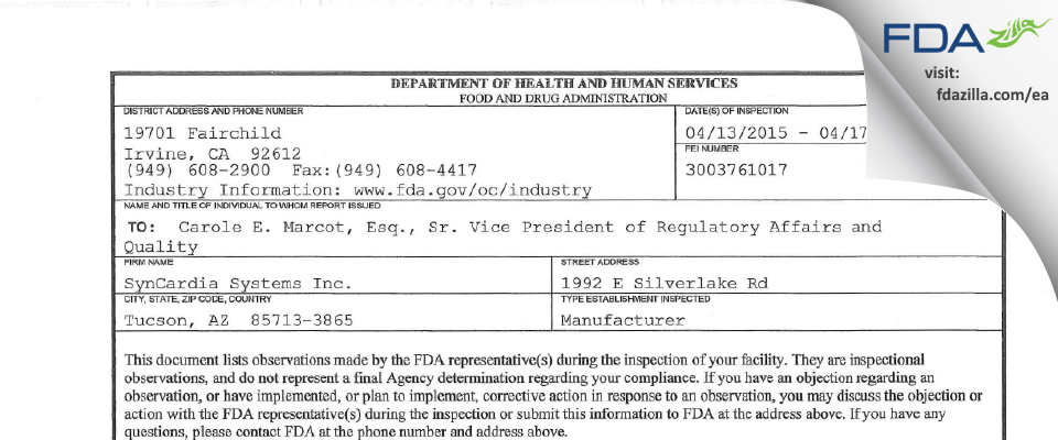 SynCardia Systems FDA inspection 483 Apr 2015