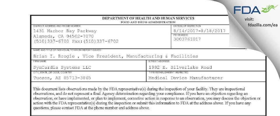SynCardia Systems FDA inspection 483 Aug 2017
