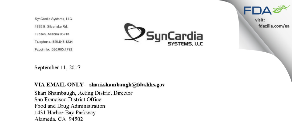 SynCardia Systems FDA inspection 483 Aug 2017