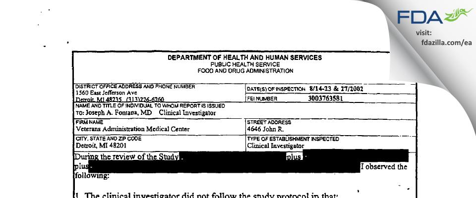 Fontana, Joseph A., MD FDA inspection 483 Sep 2002