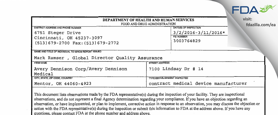 Avery Dennison/Avery Dennison Medical FDA inspection 483 Mar 2016