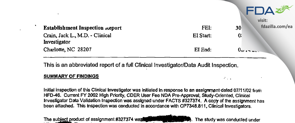 Crain, Jack L., M.D. - Clinical Investigator FDA inspection 483 Aug 2002