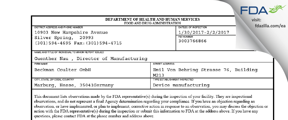 Beckman Coulter FDA inspection 483 Feb 2017