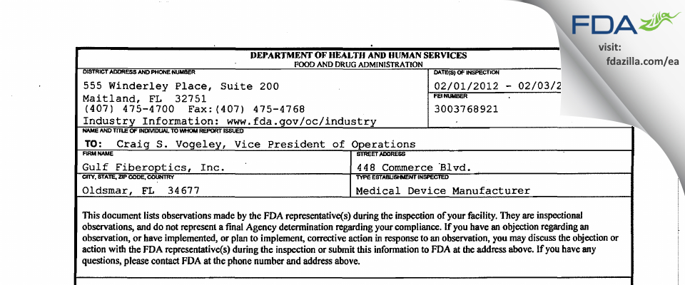 Gulf Fiberoptics FDA inspection 483 Feb 2012