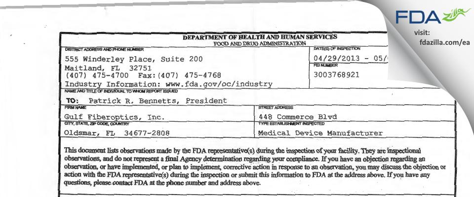 Gulf Fiberoptics FDA inspection 483 May 2013