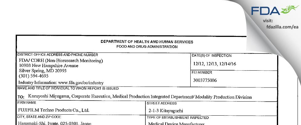 FUJIFILM Techno Products FDA inspection 483 Dec 2016
