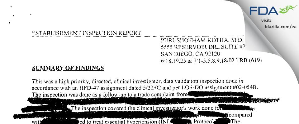 Kotha, Purushotham MD FDA inspection 483 Jul 2002