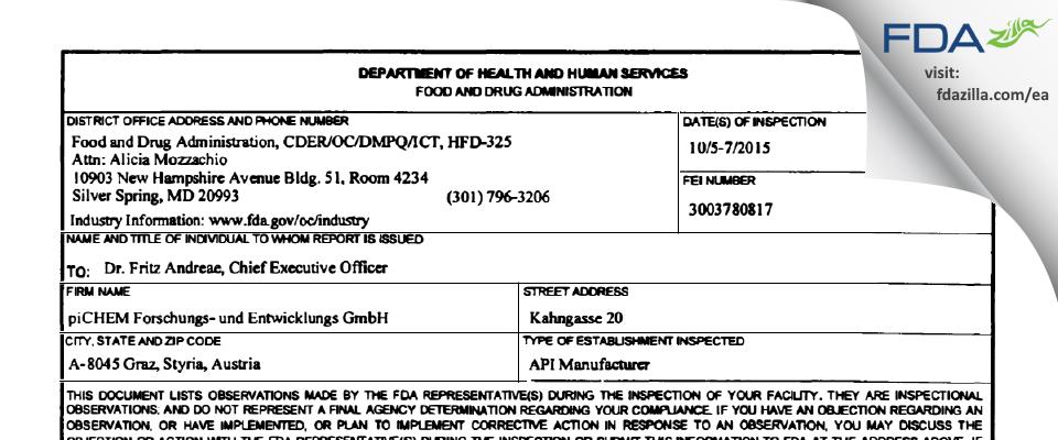 piCHEM Forschungs- und Entwicklungs FDA inspection 483 Oct 2015