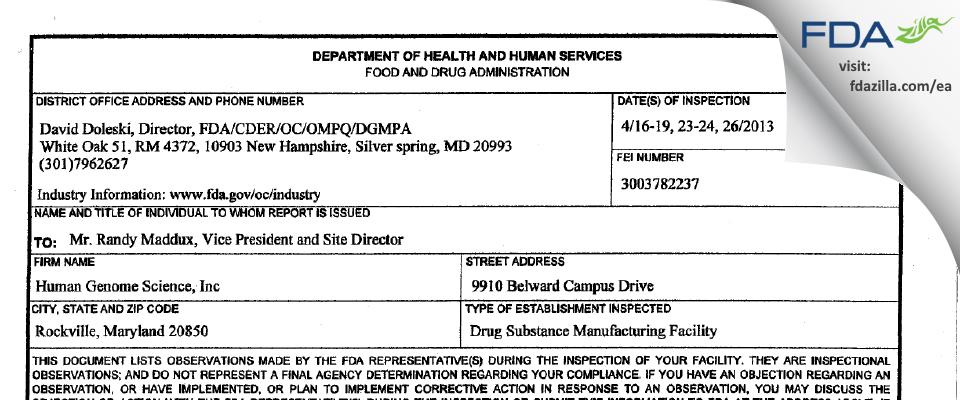 GlaxoSmithKline dba Human Genome Sciences FDA inspection 483 Apr 2013