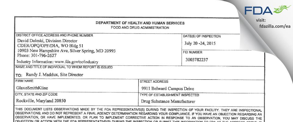 GlaxoSmithKline dba Human Genome Sciences FDA inspection 483 Jul 2015