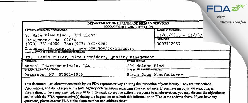 Amneal Pharmaceuticals FDA inspection 483 Nov 2013