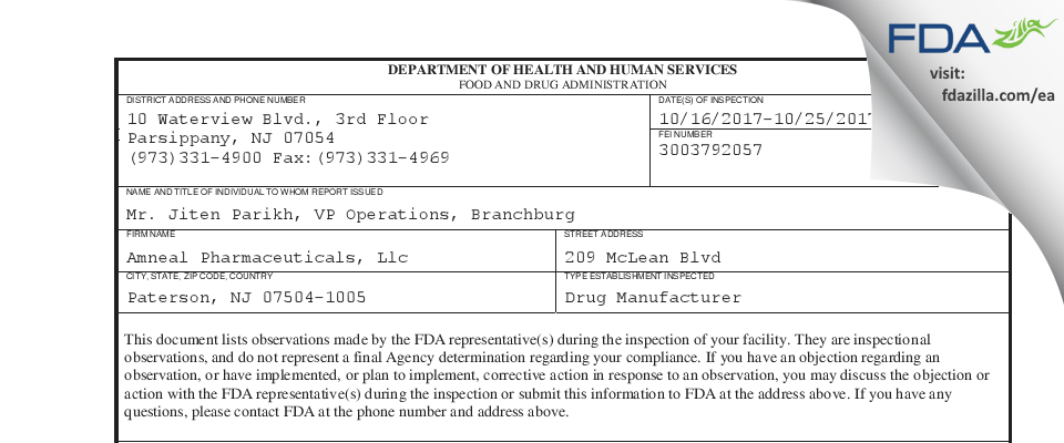Amneal Pharmaceuticals FDA inspection 483 Oct 2017