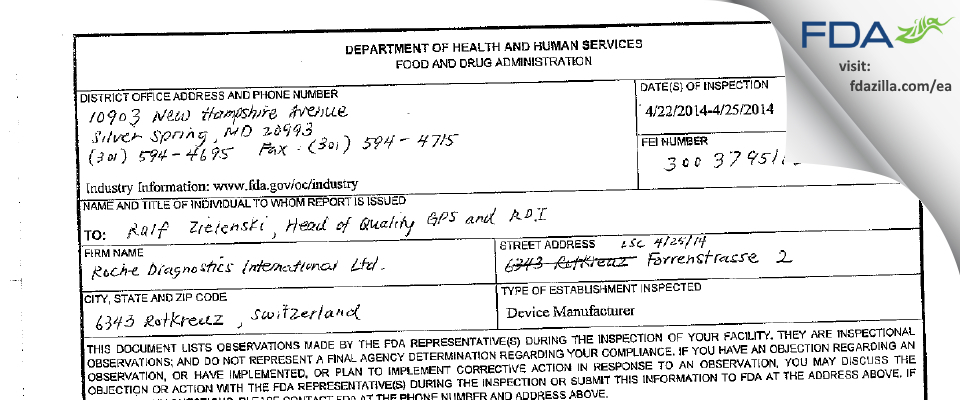 Roche Diagnostics International FDA inspection 483 Apr 2014