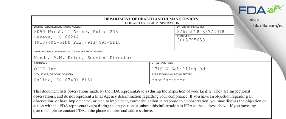 OCCK FDA inspection 483 Aug 2018